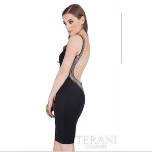 Terani Couture Backless black Cocktail Dress